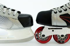 Hockey skates and rollerblades Stock Images