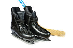 Hockey skates and stick Royalty Free Stock Photo