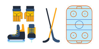 Hockey skates vector illustration ice boots pair. Hockey skates ice boots pair. Vector uniform and accessory in flat style.  equipment athlete attribution Stock Photos