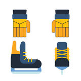 Hockey skates vector illustration ice boots pair. Hockey skates ice boots pair. Vector uniform and accessory in flat style.  equipment athlete attribution Royalty Free Stock Photos