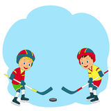Hockey sobre hielo del juego de dos muchachos Foto de archivo