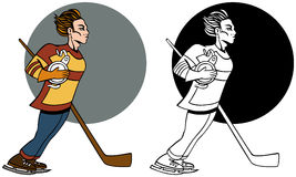 Hockey-Spieler-Set Stockfotos