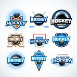 Hockey sport team logotype templates set. Hockey team logo template. Hockey emblem, logotype template, t-shirt apparel design. Sport badge for tournament or royalty free illustration