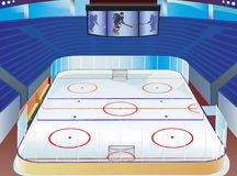 Hockey stadium. Hockey  stadium with info screen, tribune and  detailed field Royalty Free Stock Images