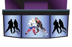 Hockey stadium  board. Royalty Free Stock Photo
