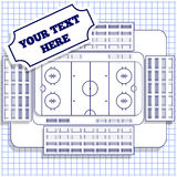 Hockey Stadium on the sheet in a cage. Royalty Free Stock Photos