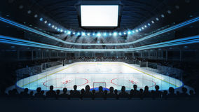 Hockey Stadium With Spectators And Blank Cube Text Space Royalty Free Stock Photography