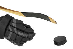 Hockey Stick, Glove and washer Royalty Free Stock Photos