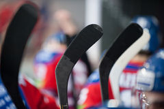 Hockey stick. Lev Prague vs. Donbass Donetsk (20. March 2014) in Prague. Hockey stick of Prague players Royalty Free Stock Photos