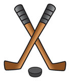 Hockey stick & puck Royalty Free Stock Photography