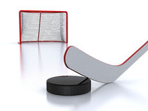 Hockey stick, puck and goal Royalty Free Stock Photo