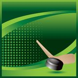 Hockey stick and puck on green halftone ad. Green halftone advertisement with a hockey puck and stick Royalty Free Stock Images