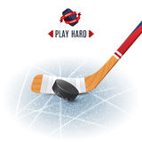 Hockey Stick And Puck. Ice hockey sport poster with wooden stick and puck realistic vector illustration Royalty Free Stock Photography