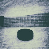 Hockey Stick and Puck. Old Photo. Stock Image