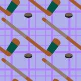 Hockey stick and puck seamless background design Stock Photos