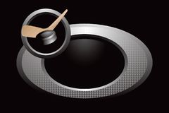 Hockey stick and puck silver ring Royalty Free Stock Image