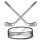 Hockey stick and puck sketch Stock Photography