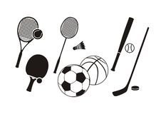 Hockey stick racket tennis baseball badminton. Sport collection icon set in black color on white background. Hockey, bat, stick, racket, tennis, baseball Royalty Free Stock Photography