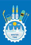 Hockey stick, sled, ski, snowboard - kids winter gear. Royalty Free Stock Photography