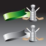Hockey stick and trophy on green and gray ribbons Royalty Free Stock Photos