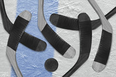 Hockey sticks and ice washer Stock Photography