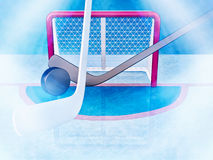 Hockey sticks and puck are located against the background of hockey gate. Royalty Free Stock Images