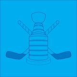 Hockey sticks and trophy blueprint Stock Images