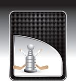 Hockey sticks and trophy on checkered background Stock Images