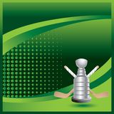 Hockey sticks and trophy on green halftone ad. Green halftone advertisement with crossed sticks and trophy Stock Photos