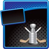Hockey sticks and trophy on halftone banner Royalty Free Stock Images