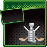 Hockey sticks and trophy on halftone banner. Black and green halftone advertisement of a hockey trophy and crossed sticks Royalty Free Stock Photos