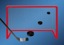 Hockey su ghiaccio - scopo l'insieme dei dischi vola attraverso l'aria nello scopo del hockey su ghiaccio royalty illustrazione gratis