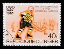 Hockey su ghiaccio, serie di Innsbruck dei giochi olimpici, circa 1976 Fotografia Stock