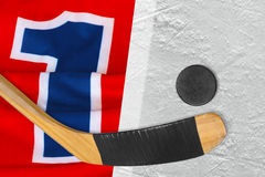 The hockey sweater, stick and puck Stock Images