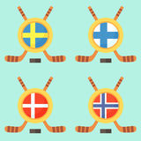 Hockey in Sweden, Finland, Denmark and Norway Stock Image