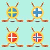 Hockey in Sweden, Finland, Denmark and Norway. Universal symbol for international hockey tournament (championship, cup) in Sweden, Finland, Denmark and Norway Stock Image