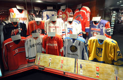 Hockey team in different countries. Photo was taken in Hockey Hall of Fame Museum in Toronto City, Ontario Province, Canada. November 2013 royalty free stock image