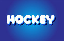 Hockey text 3d blue white concept vector design logo icon Stock Image