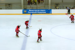 Hockey tournament among children's teams Royalty Free Stock Photo