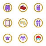 Hockey training icon set, cartoon style Stock Images
