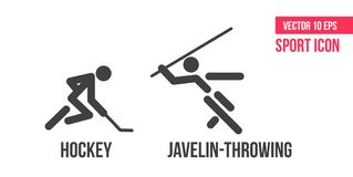 Hockey und javelin-throwing sign icon. Set of sports vector line icons. athlete pictogram royalty free illustration