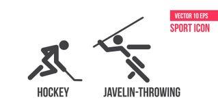Hockey und Speer-werfende Zeichenikone Stellen Sie von der Sportvektorlinie Ikonen ein Athletenpiktogramm lizenzfreie abbildung