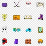 Hockey vastgestelde pictogrammen Stock Afbeeldingen