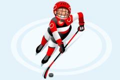 Hockey Vector Boy Cartoon Player Stock Images