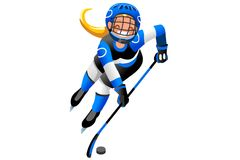 Hockey Vector Cartoon Girl Icon. Ice hockey vector cartoon clipart. Winter sports background with hockey athlete playing winter olympics competition. 3D flat Royalty Free Stock Images
