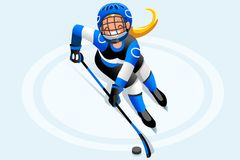 Hockey Vector Cartoon Girl Poster. Ice hockey vector cartoon clipart. Winter sports background with hockey athlete playing winter olympics competition. 3D flat Royalty Free Stock Photos