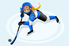 Hockey Vector Girl Cartoon Player. Ice hockey vector cartoon clipart. Winter sports background with hockey athlete playing winter olympics competition. 3D flat Stock Photography