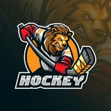 Hockey vector mascot logo design with modern illustration concept style for badge, emblem and tshirt printing. angry lion hockey. Illustration for sport and vector illustration