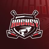 Hockey vector mascot logo design with modern illustration concept style for badge, emblem and tshirt printing. hockey badge. Illustration for sport and team vector illustration