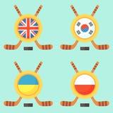 Hockey in Vereinigtem Königreich, in Südkorea, in Ukraine und in Polen Stockbilder